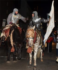 Warrior Joan and The Bastard of Orleans on horseback