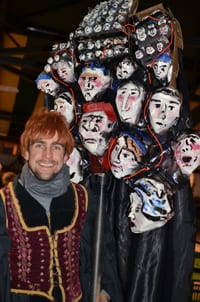 "Artist Jacob ""Reptile"" Martin with his judges parade puppet"