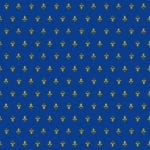 Order fabric with gold fleur de lis scattered on a field of French blue.