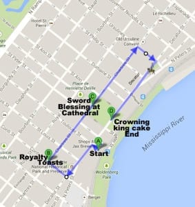 Route map of Joan of Arc parade starts at Decatur and Toulouse by the Jax Brewery shops, heads down Decatur, turns right on Conti, pause at the corner of Conti and Chartres to toast royalty, heads east on Chartres, pause at the Saint Louis Cathedral for sword blessing, continues down Chartres, turns right onto Ursulines, turns right onto Decatur, passes Joan of Arc statue, ends at Washington Artillery Park for king cake and crowning ceremony