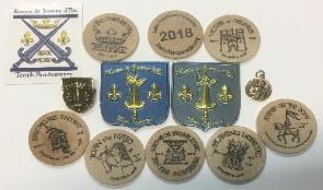 Assortment of doubloons and memorabilia
