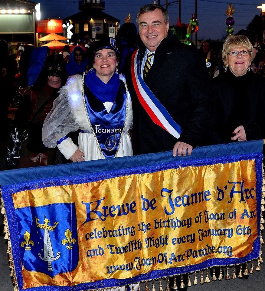 Krewe de Jeanne d'Arc Captain and Founder Amy Kirk Duvoisin with Orléans Mayor Olvier Carré