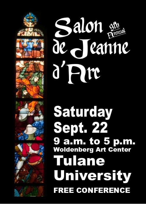 Poster for 2018 Salon de Jeanne d'Arc Saturday Sept. 22, 9-5, Tulane University, Woldenberg Art Center
